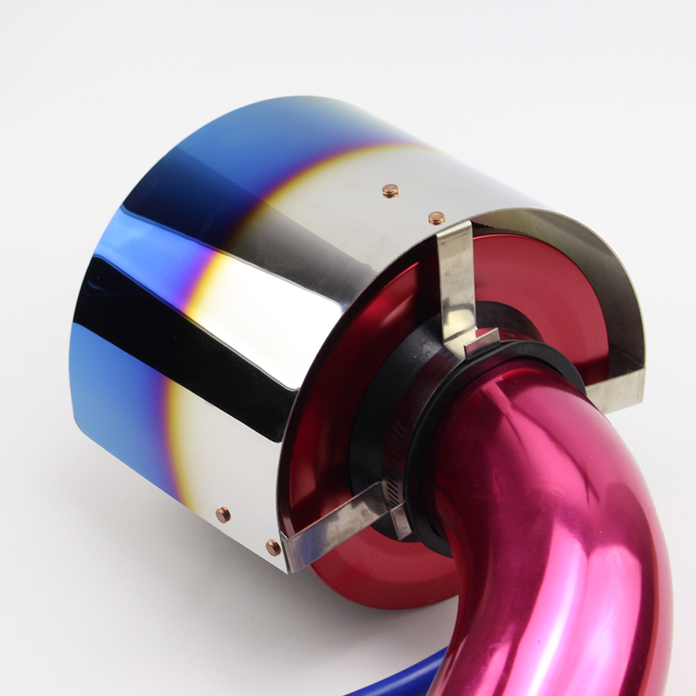 Universal Neo Chrome Titanium Blue Stainless Steel Racing Air Filter Heat Shield Cover