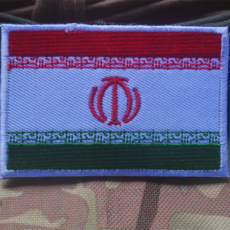 IRAN USED EMBROIDERED  SEW ON NAME PATCH TAG BLUE ON WHITE