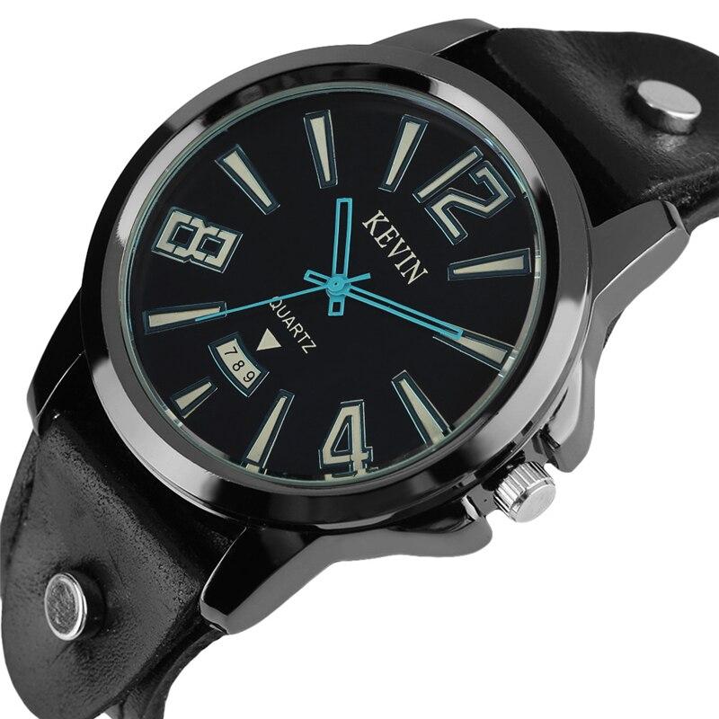 KEVIN Punk Men's Watch Fashion Gothic Style Casual Leather Cuff Bracelet Quartz Arabic Number Round Wristwatch Relogio Masculino