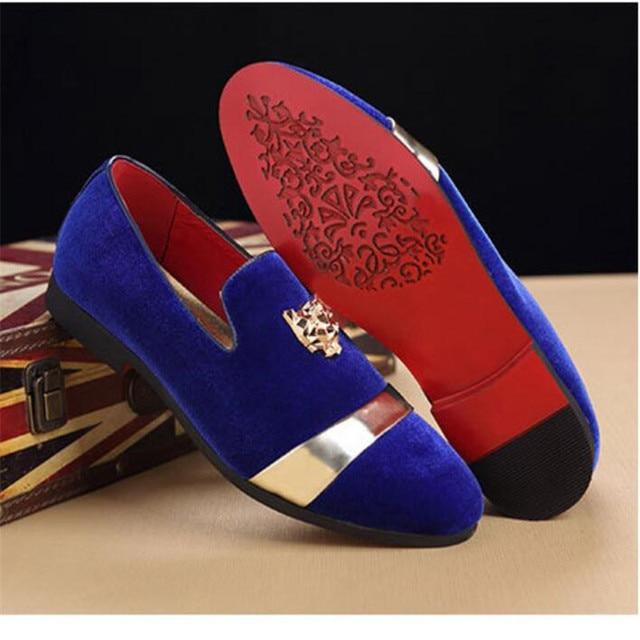 Fashion Party Wedding Handmade Men Red bottom Loafers  Luxury Velvet Social  Flats  Tiger  Belt Gold  Buckle  Men Dress  Shoe 2