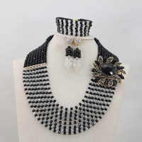 Splendid Black/Silver African Costume Jewelry Sets for Women 8 Layers Crystal Necklace Bracelet Earrings Set Free Shipping QW458