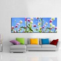 Paisaje de primavera Flor 3 Paneles Set Impresión de la Lona Pintura Arte Moderno de Pared Del Cartel Del Arte Impresiones de Imagen para la Sala Sin Marco