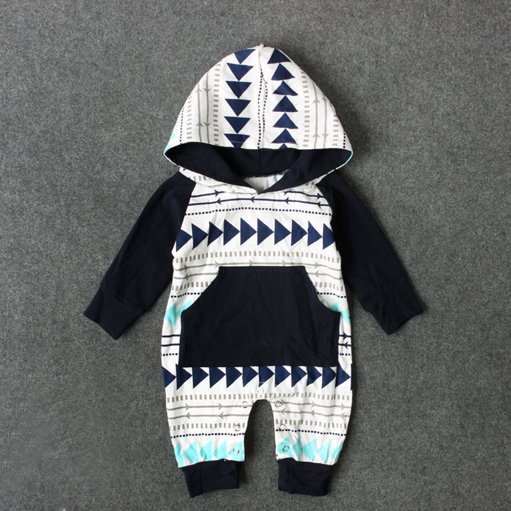MUQGEW Outfits Jumpsuit Hooded Baby-Boys-Girls New-Fashion Infant Print Romper Geometry