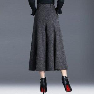 Image 3 - ฤดูหนาวกางเกงผู้หญิงสูงเอวข้อเท้าความยาวขนสัตว์กางเกงขากว้าง culottes กางเกงกางเกงกางเกง pantalon Palazzo mujer