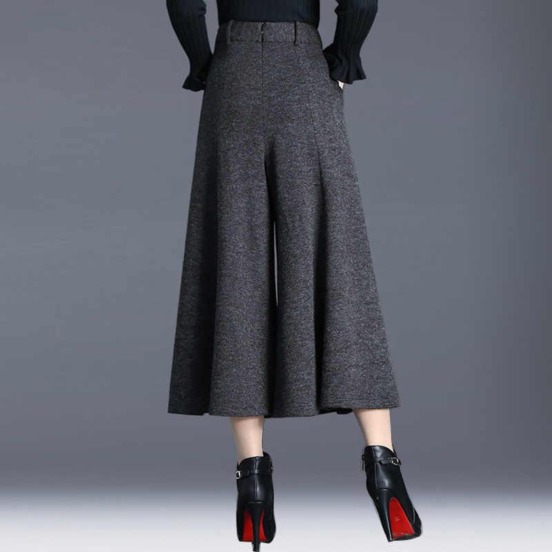冬パンツ女性ハイウエスト足首の長さのウールワイド脚パンツキュロット女性のズボンキュロットパンタロン宮殿 mujer