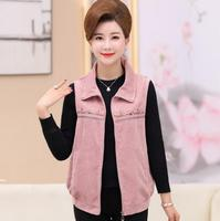 Woman Soild Corduroy Vests Autumn Sleeveless Jackets Middle Aged Women's embroidery Waistcoat Zipper Casual chalecos mujer w52