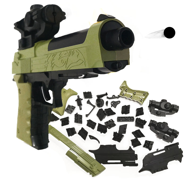 DIY Building Blocks Toy Gun Beretta and  Gunsight Assembly Toy Puzzle Model Can Fire Bullets(Mung Bean) with Instruction Book