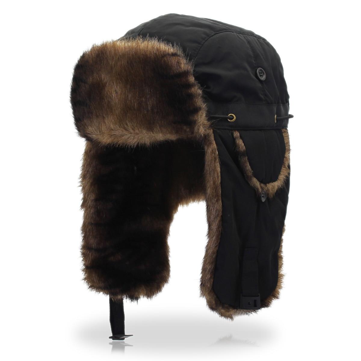 a1e0b3d80 US $16.43 35% OFF|BUTTERMERE Russian Ushanka Soviet Hats Black Bombers Hat  Fur Mens Winter Hats Ear Flaps Winter Outdoor Pilot Hat For Men Women-in ...
