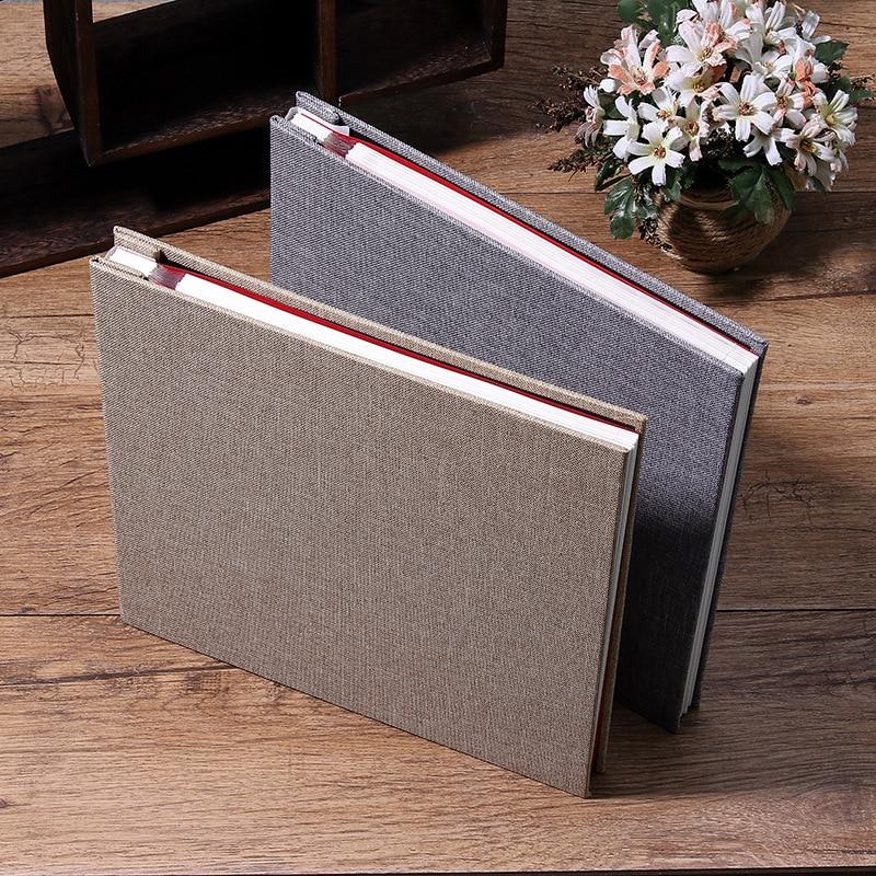 16-inch 20 Pages Self Adhesive Photo Album DIY Scrapbook Rustic Linen Cloth Cover Personalise Album For Wedding Memory Album