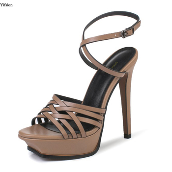 Olomm New Women Platform Leather Sandals Sexy High Heel Sandals Open Toe Black Nude Sandals Women Dress Shoes US Plus Size 3-9