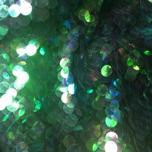 New 18mm UV Laser Green Sequins Fabric Fashion Show Designer Material Telas Bazin Riche Getzner Tecido 130x45cm(China)
