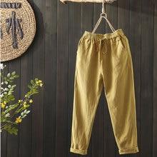 100% bawełna Plus Size damskie spodnie letnie w pasie luźne dorywczo spodnie Harem tylna kieszeń bawełniane lniane spodnie 8 kolorów D58