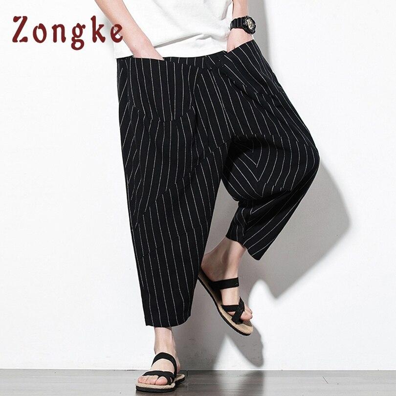 Zongke, длина по щиколотку, уличная одежда, мужские штаны для бега, хип-хоп брюки, мужские штаны для бега, спортивные штаны, шаровары, Мужские штаны, весна - Цвет: Black