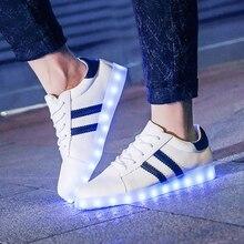 Мужчины женские Унисекс LED кроссовки Для Взрослых LED Пара Случайных Моды Загораются СВЕТОДИОДНЫЕ Светящиеся 11 Цветов Обувь 2017 Lumineuse Chaussures