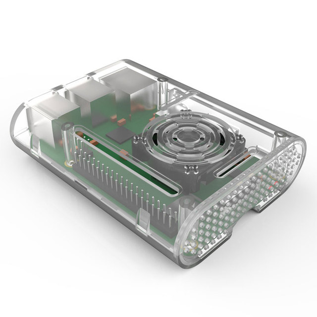 For Raspberry Pi 3 Case Cover with Aluminum Heatsink +Cooling Fan+Camera Flex Cable For Raspberry Pi 3 B+/3/2/ B+