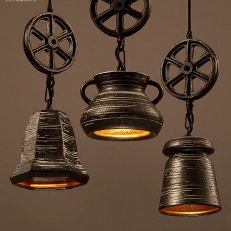Loft Style Creative Ceramic Droplight Vintage Pendant Light Fixtures For  Living Dining Room LED Hanging Lamp
