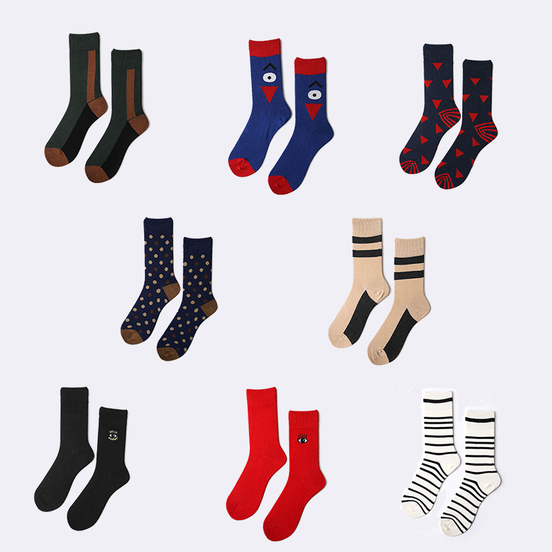 Men new fashion funny socks colorful Evil eye cartoon stripe dot hit-color socks geometry cotton Smiley face hiphop cute