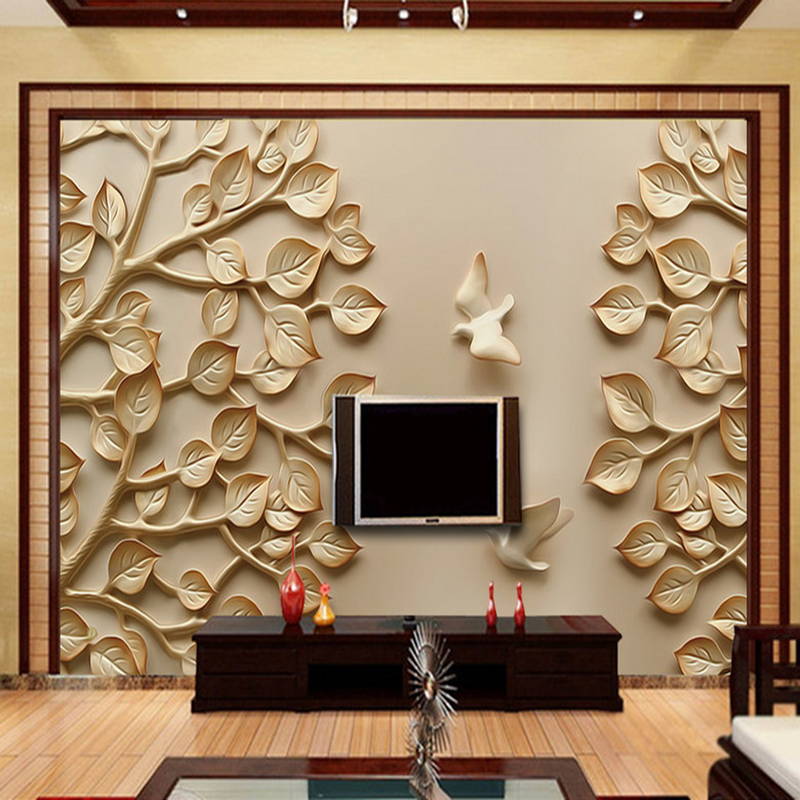 Custom 3D Wall Murals Wallpaper Tree Pigeon Stereoscopic Relief Living Room Bedroom TV Backdrop Wallpaper Murals Papel De Parede custom papel de parede red black tree abstract modern wallpaper living room sofa tv wall bedroom 3d wall murals wallpaper