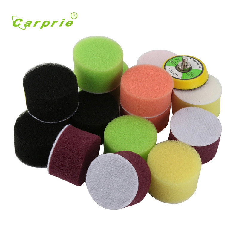 Car Polisher Polishing 16Pcs 2inch Sponge Buff Polishing Pad Kit Pad Backer Tool Esponja polida Esponja de pulido styling 17sep1