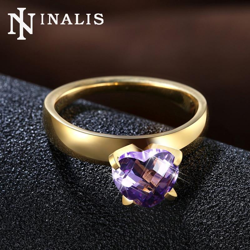 inalis brand romantic heart shape cut 2 carat cz stone wedding band rings gold color titanium - Stone Wedding Rings