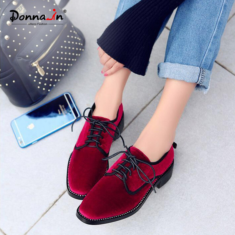 Donna in Genuine Leather Women Oxford Shoes with Heel 2019 New Square Toe Gold Velvet Shoe