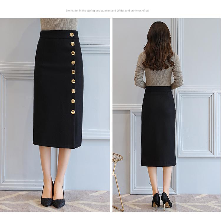 High Waist Warm Solid Pencil Office Midi Skirt