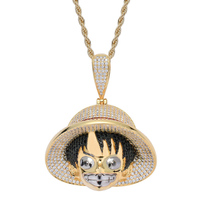 Zlxgirl cute Carton hats girl Shape copper pendant and necklace stainless steel chain cubic zircon hip hop clothing accessory