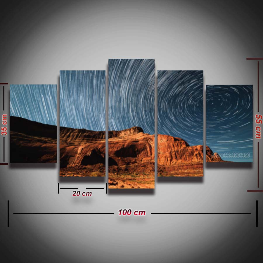 Printed Meteors Sky Natural Landscape Painting Modular Picture 5 Panels Set For Wall Home Decor Canvas Art Prints Artwork Framed