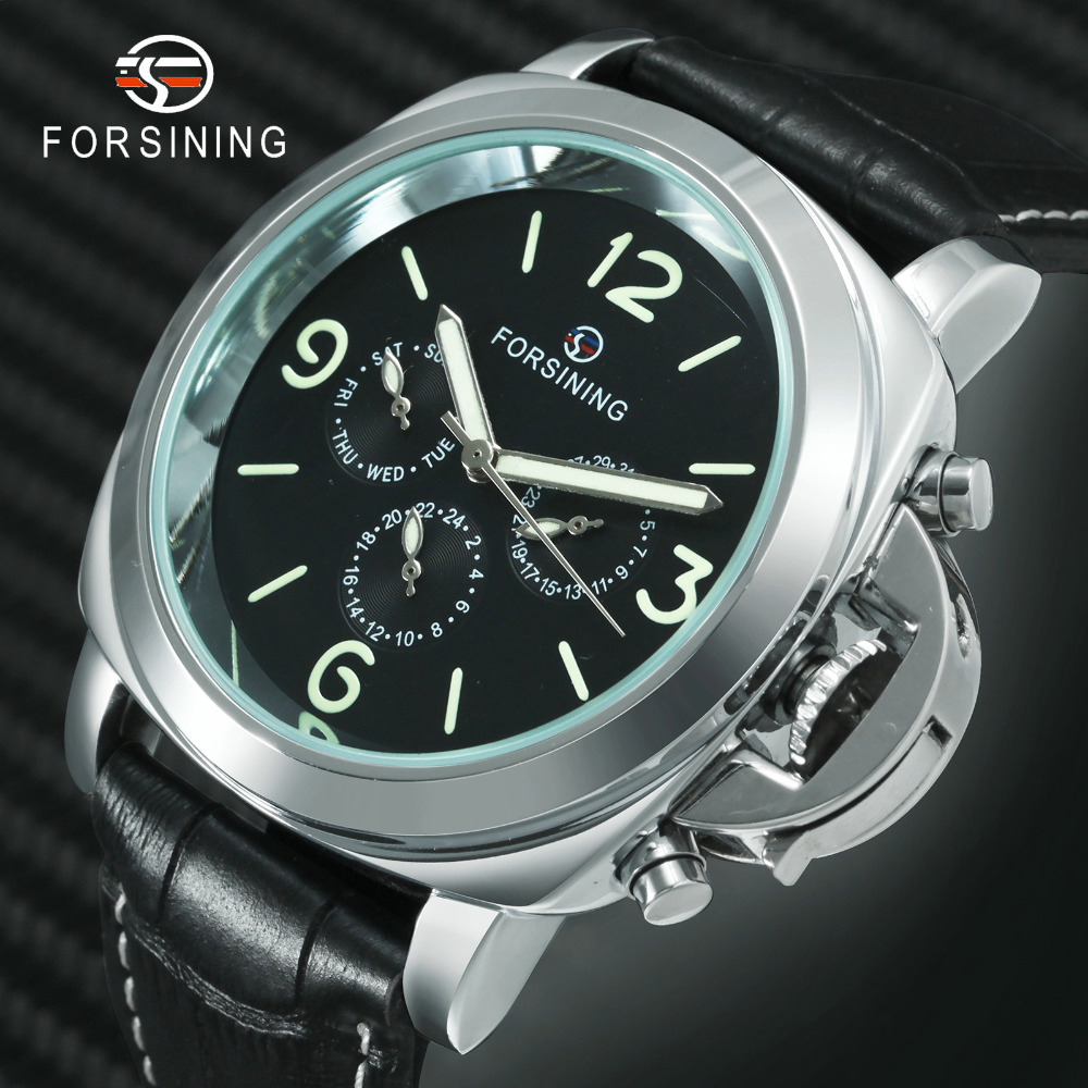 2019 New FORSINING Multifunction Watch Men Auto Mechanical Leather Strap Luminous Hands Working Sub-dials Casual Male Wristwatch