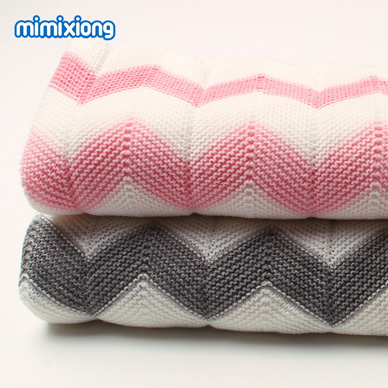 Newborn Super Soft Swaddle Wrap Blankets Stripe Knitted Infant Baby Basket Blanket Summer Air Conditioning Toddler Bedding Quilt baby blanket knitted newborn swaddle wrap blankets super soft toddler infant bedding quilt for bed sofa basket stroller blankets