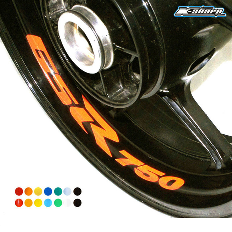 8 X CUSTOM INNER RIM DECALS WHEEL Reflective <font><b>STICKERS</b></font> Decals STRIPES FIT For <font><b>SUZUKI</b></font> GSR 750 GSR750 image