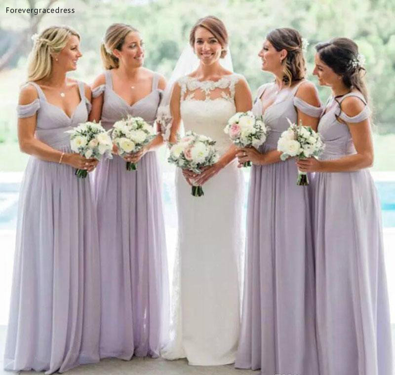 Lavender   Bridesmaid     Dresses   2019 New Chiffon Summer Country Garden Wedding Party Guest Maid of Honor Gowns Plus Size Custom Made