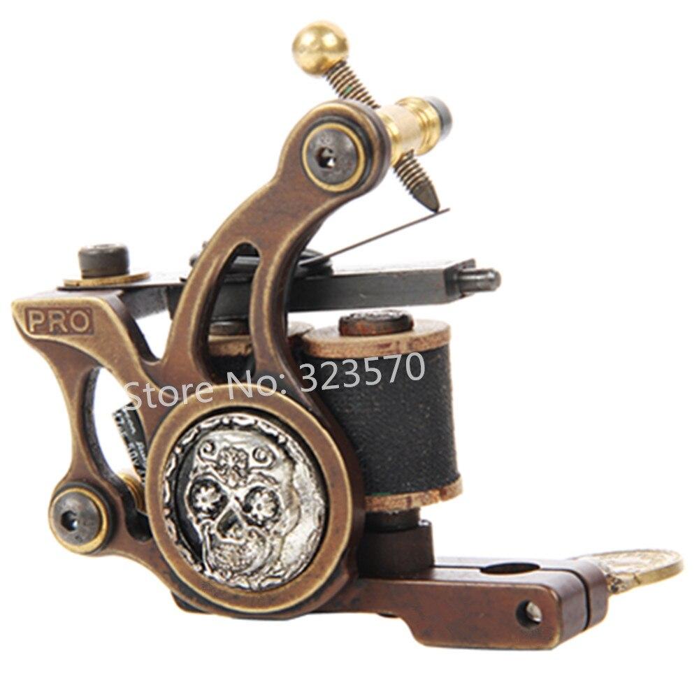 Top Pro Handmade Copper Tattoo Machine Gun 10 Wrap Coils Set Shader For Tattoo Supply -- FTM-2235S hot professional handmade tattoo gun for shader
