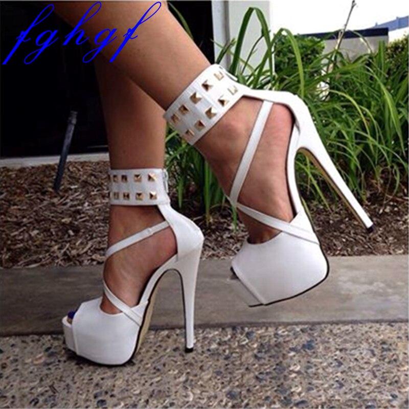 FGHGF new summer sexy women s high heeled sandals 16cm White fashion stripper Party high heeled