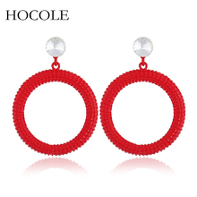 2018 New Rhinestone Big Round Circle Drop Earrings Simple Hollow Out Red Yellow Black Dangle Brincos For Women boucle d'oreille цена