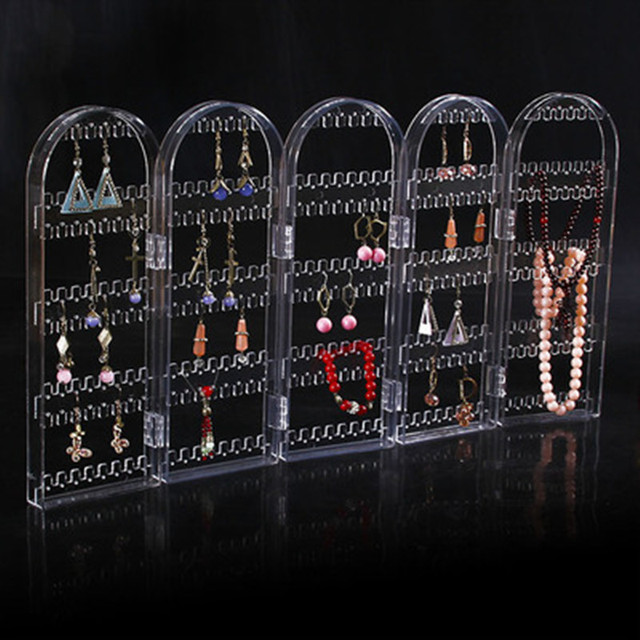 2017 New Arrival 5 Panels Jewelry Display Organizer Earring Acrylic Holder Makeup