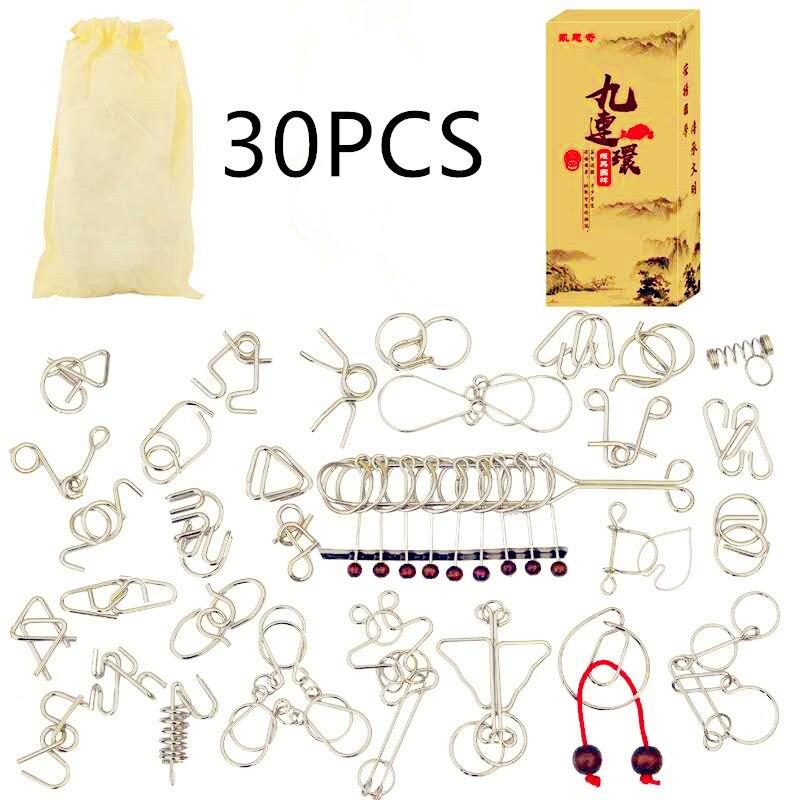 1-30 pçs/set Mente Cérebro Teaser IQ Enigma Metal Wire Puzzles Jogo Adultos Crianças Crianças Montessori Brinquedos Educativos Primeiros UM Presente