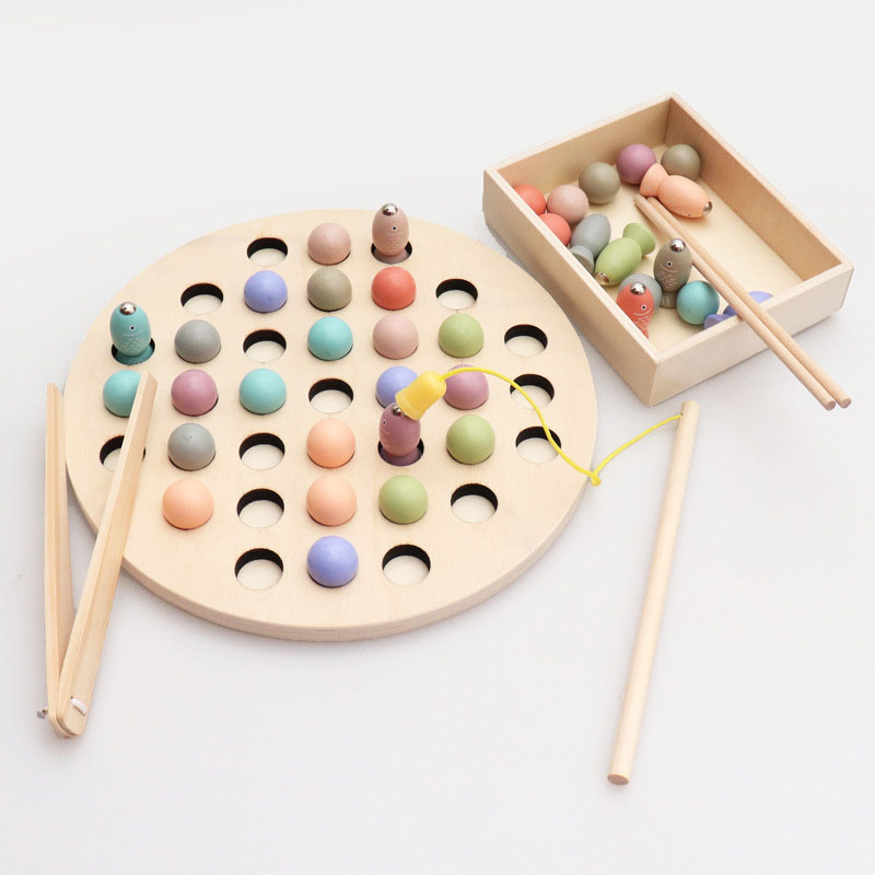 2 In 1 Clip Beads Magnetic Fishing Game Toy Set Educational Wooden Toys For Children With Fish Rod Kids Montessori Magnets Game