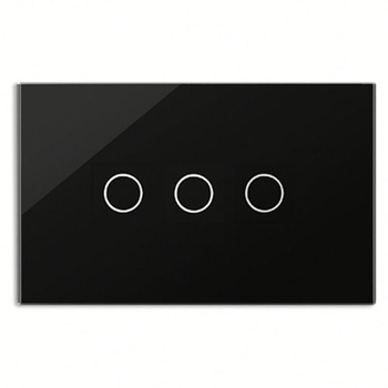 Bseed 240v Touch Switch 3 Gang 1 Way Light Touch Switch With Glass Panel Black Touch Wall Switch Us Au Eu Uk smart home black touch switch crystal glass panel 3 gang 1 way us au light touch screen switch ac110 250v wall touch switches