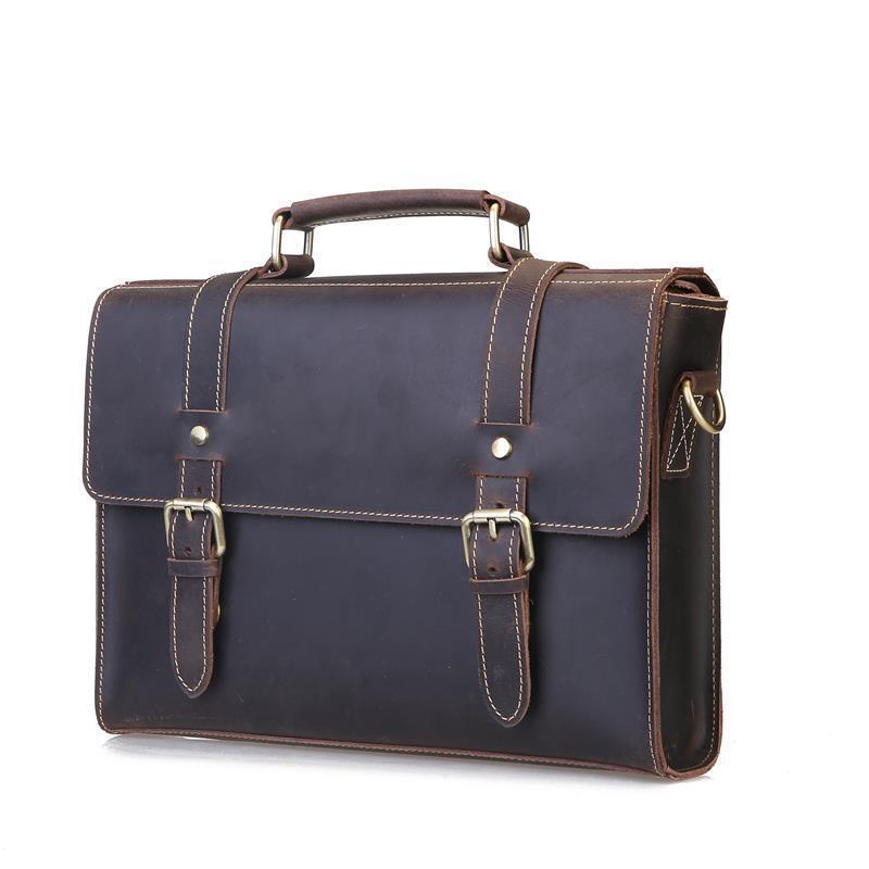 Vintage Mens Genuine Leather briefcase Big Business Handbag Cowhide Laptop Handbag briefcase messenger bag