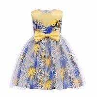 新しい女の子のドレスプリンセスドレス夏の子供ノースリーブの服プリント王女子供フラワードレス用3-9年キッズパーティ