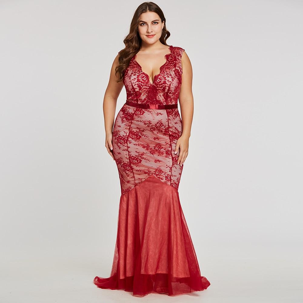 02848cc882 Dressv burgundy v neck plus rozmiar suknia wieczorowa elegancki tanie  syrenka lace wedding party formalna suknia trąbka suknie wieczorowe w Dressv  burgundy ...