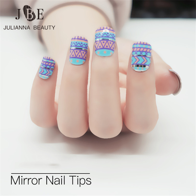 ≧24pcs Full Acrylic Artificial Metallic Nails Tip Fashion Silver ...