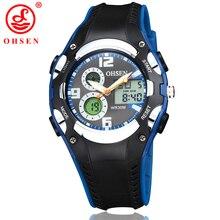 Children Sport Watch 30M Waterproof Wristwatches Kid Rubber Strap Alarm Date Stopwatch Digital Analog Display OHSEN 1309