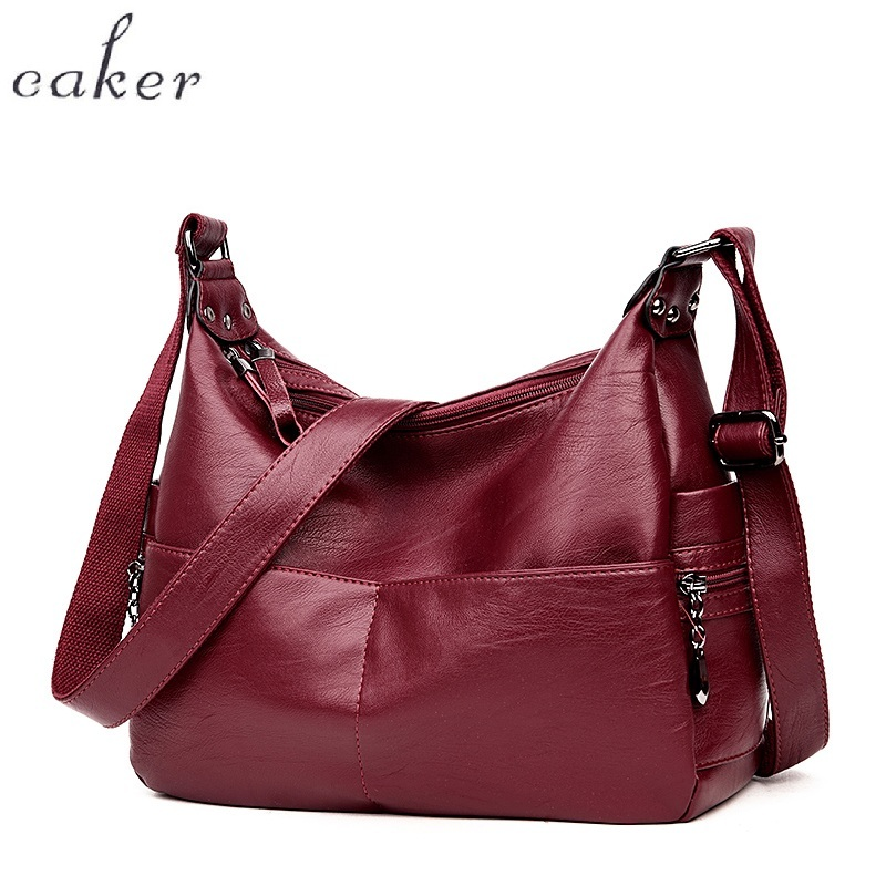 Caker Brand 2017 Handbags Women Bags Large Big Black Leather Bag Female Shoulder Messenger Bags Black Casual Tote Shoulder Bag 2017 luxury brand women handbag oil wax leather vintage casual tote large capacity shoulder bag big ladies messenger bag bolsa