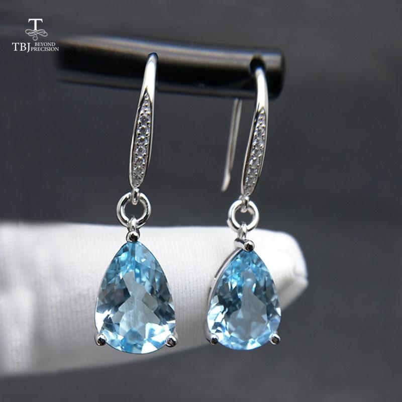 TBJ Water Drop 8 5ct Genuine brazil blue topaz gemstone Dangle hook Earrings Pure 925 Sterling