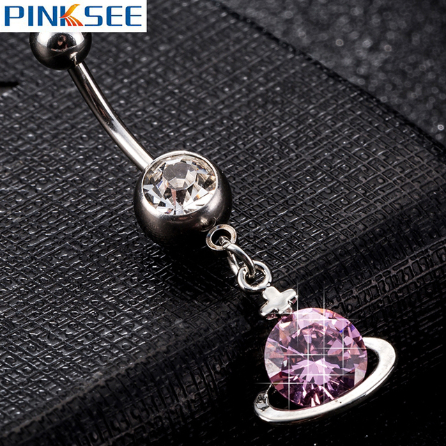 Us 1 18 30 Off Sexy Medical Steel Cz Zircon Small Cosmic Belly Button Rings For Women Silver Dangle Navel Rings Piercing Jewelry 7 Colors On