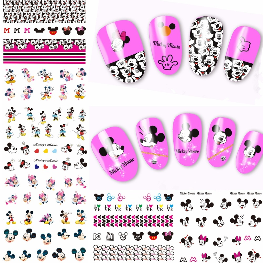 2018 new 12 sheets cartoon Mickey mouse designs full Water Transfer Decals Nail Art Stickers nails decoration manicure tools 384 1pcs water nail art transfer nail sticker water decals beauty flowers nail design manicure stickers for nails decorations tools