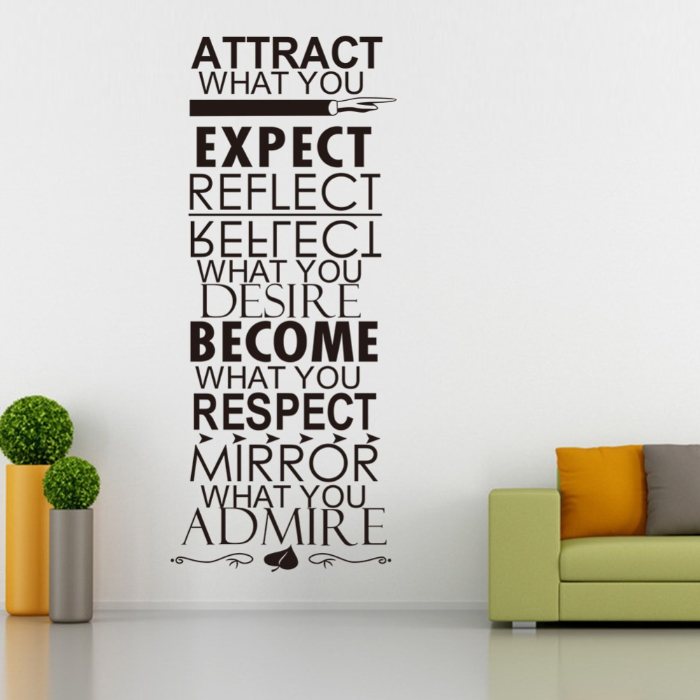 2017 Diy Wall Decor Attract What You Expect Reflect Desire Become Respect Mirror Admire Quotes
