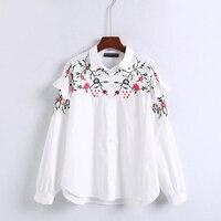 Dioufond 2017 Das Mulheres Top Camisa de Algodão Mulheres Quente Floral Bordado Blusa Branca de Manga Comprida Solta Casuais Camisa Das Senhoras Tops Blusa